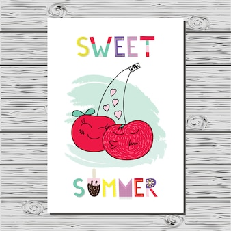 Beautiful summer illustration with cherry