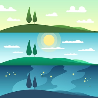 Красивый летний пейзаж в разное время суток. мультфильм иллюстрация