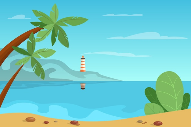 배경에 표지와 아름 다운 여름 풍경
