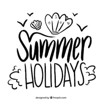 아름 다운 여름 글자 개념