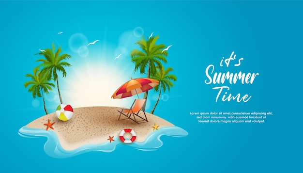 Красивое лето на тропическом пляже с солнцем кокосовых пальм и декоративным элементом