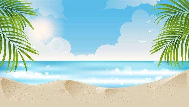 ヤシの葉と雲の背景の夏と熱帯のビーチの美しい夏