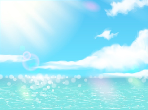 Beautiful summer resort scenery with glittering ocean and blue sky in 3d illustration