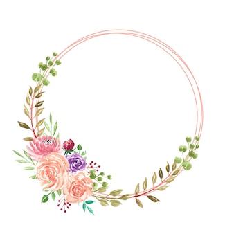 Beautiful summer watercolor flower wreath