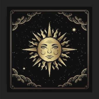 고급스러운 조각 손으로 그린 스타일의 아름다운 태양 얼굴