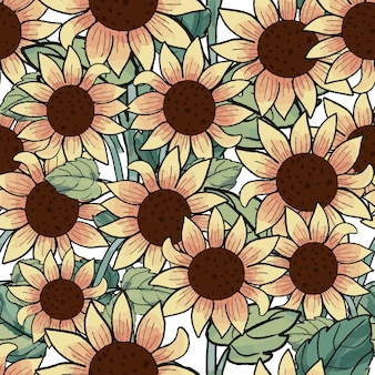 Beautiful sunflower in the garden seamless pattern.