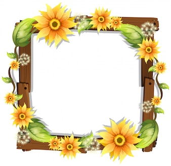 Beautiful Sunflower on Wooden Frame