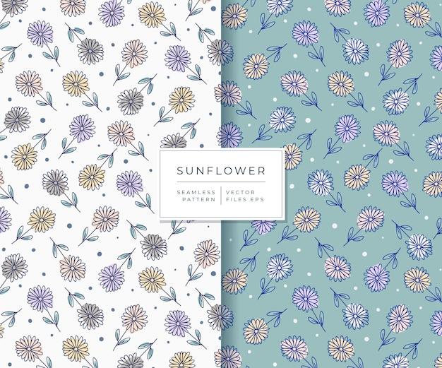 Beautiful sunflower with hand drawn style seamless pattern