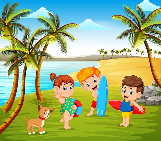 ビーチで美しい晴れた日、ペットと一緒に遊ぶ子供たち