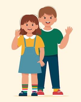 ダウン症の美しい日当たりの良い子供の男の子と女の子。フラットスタイルのかわいいイラスト