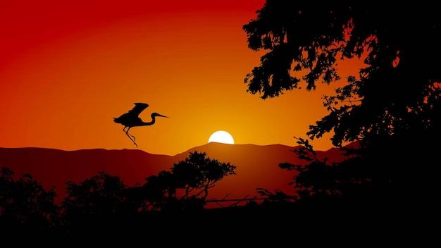 Красивая иллюстрация заката с силуэтом дерева и летящей птицей