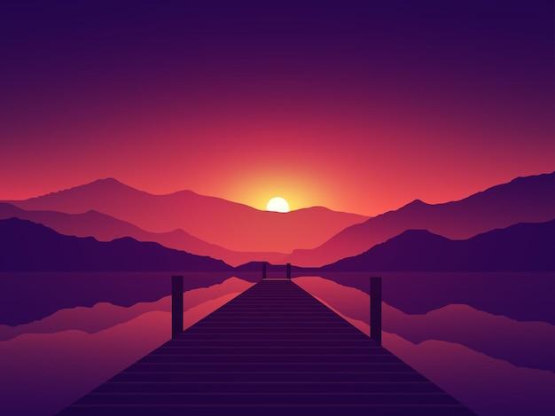 Красивый закат в озере с пирсом