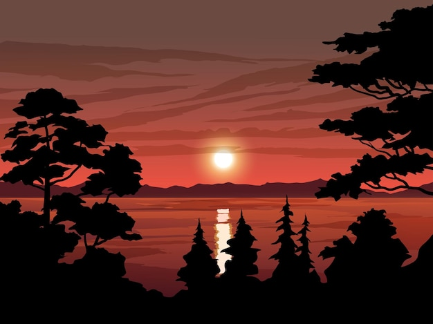 木のシルエットと湖の美しい夕日