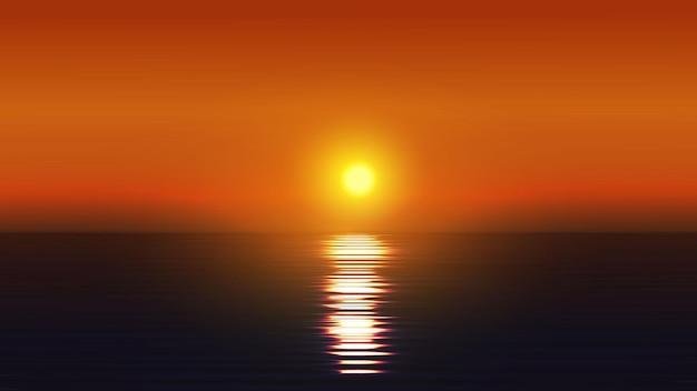 Красивый закат в океане природа пейзаж