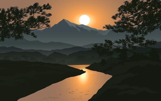 山と川の美しい夕日の風景