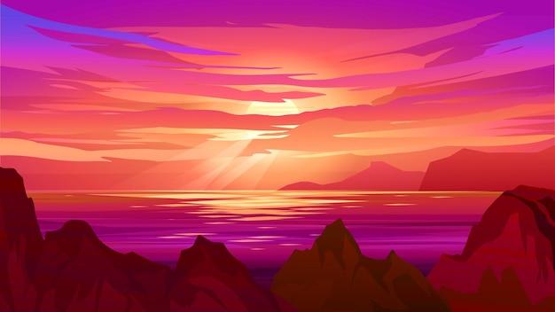 Красивый закат над океаном со скалами