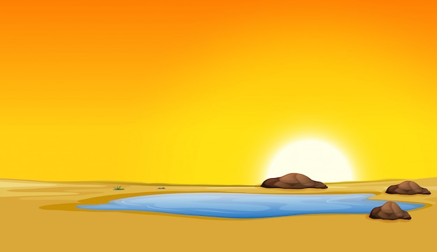 Красивая сцена пейзажа пустыни на закате