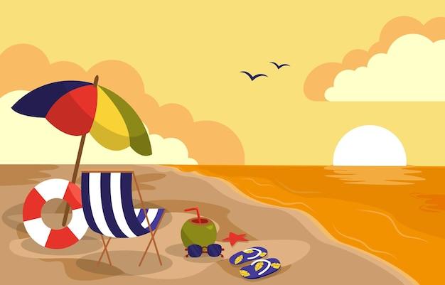 Beautiful sunset summer beach sea nature vacation illustration