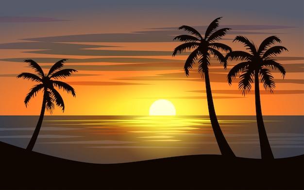 Beautiful sunset in tropical beach