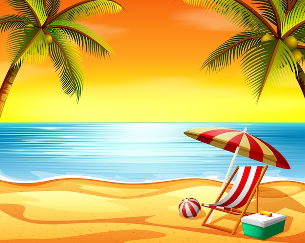 Beautiful sunset view background in the beach with the beach chair and coconut trees