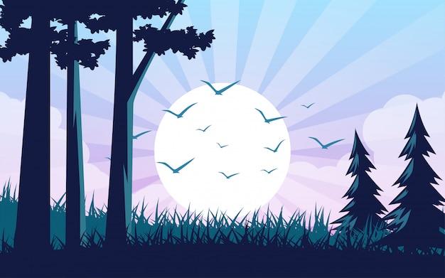 森の美しい日の出