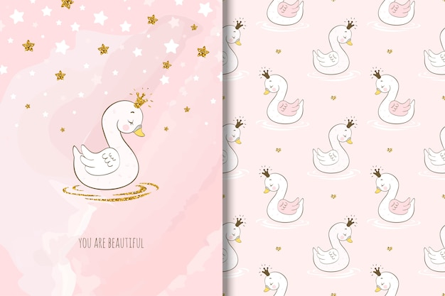 Beautiful swan cartoon character, card and seamless pattern.