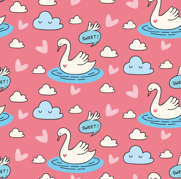 Beautiful swan in the lake doodle seamless pattern