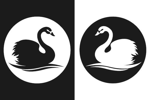 Beautiful swan silhouette concept