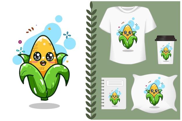 Красивая сладкая и милая иллюстрация шаржа кукурузы Premium векторы