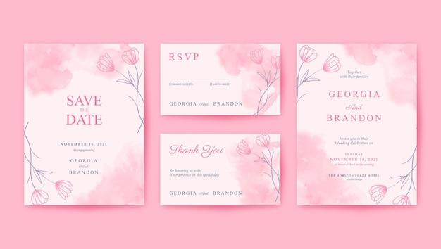 美しく、甘くてロマンチックなピンクの結婚式の招待状のテンプレート