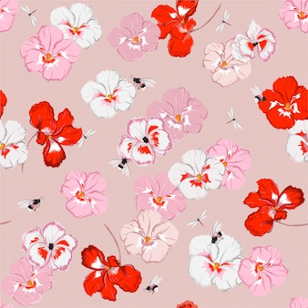 Beautiful sweet pansy flower seamless pattern in vector with dragonfly and bumble bess, design for fashion, fabric, web, wallpaper, and all prints