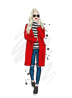 Красивая, высокая и стройная девушка в стильном пальто, брюках и очках. модный стиль.