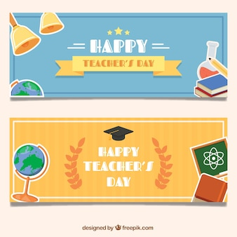 Beautiful teacher day banners with school supplies