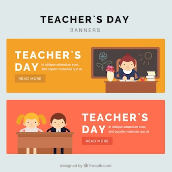 Beautiful teacher's day banners in flat style