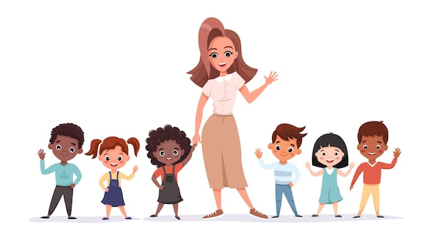 웃 고 흔들며 그녀의 눈동자와 함께 서있는 아름 다운 교사. 초등학교 급우 초상화는 교사와 함께.