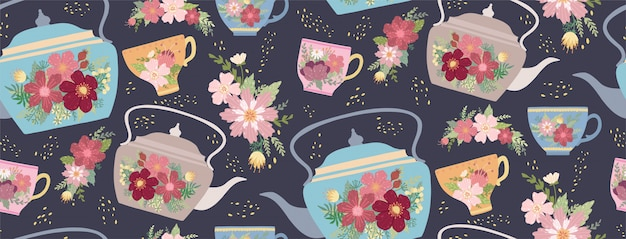Beautiful teacup and teapot with flower and leaves seamless pattern.