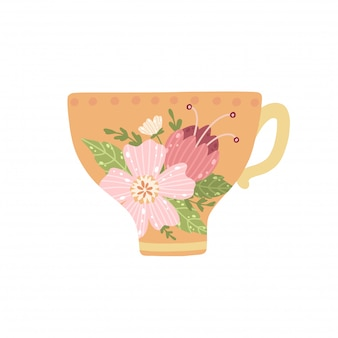 Beautiful teacup with flower and leaves isolated on white background.