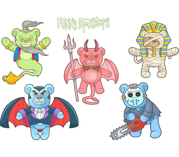 Beautiful teddy bears monsters illustration