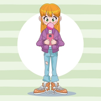 Beautiful teenager girl using smartphone with buble gum anime character  illustration
