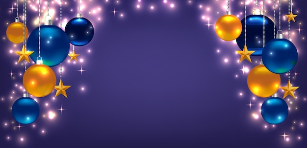Beautiful template for christmas or new year card, flyer, poster, invitation, banner. promotion or shopping template.  with balls, stars and copyspace. violet