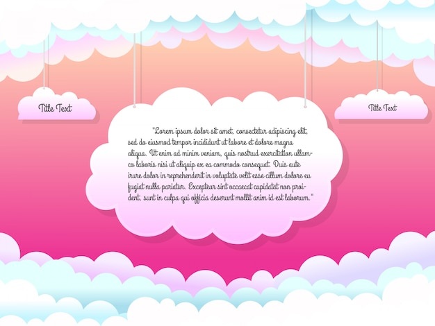 Beautiful template with hanging clouds illustration