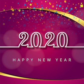 Beautiful text 2020 new year festival greeting card template