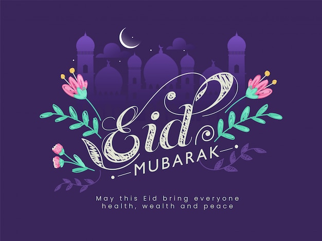 Beautiful text eid mubarak decorated with flowers, mosque silhouette, crescent moon