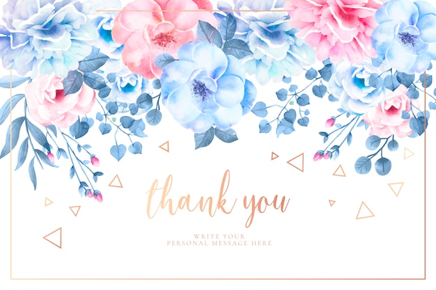 Beautiful thank you card with watercolor flowers