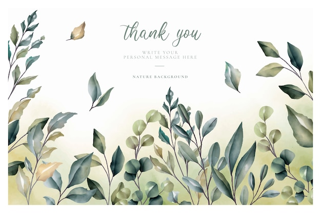 Beautiful thank you card with watercolor leaves