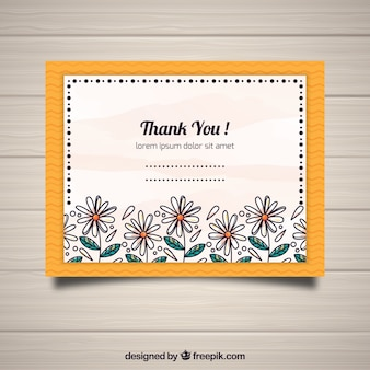 Beautiful thank you postcard with hand drawn flowers