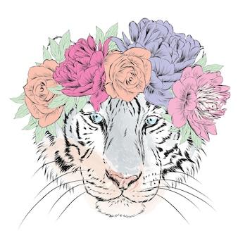 Красивый тигр в цветочном венке Premium векторы
