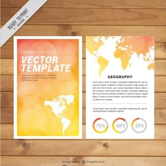 Красивая туристическая фирма брошюра с картой