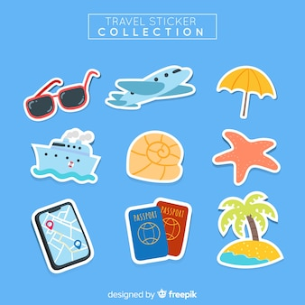 Beautiful travel sticker collection