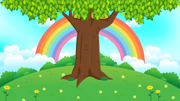 Beautiful tree on green grass with rainbow illustration